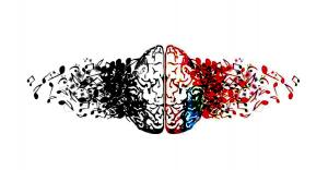 cervello disegno nero rosso musica suono